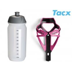 Košík TACX Deva + Láhev Shiva 0,5l růžová/karbon